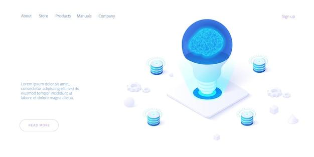 Illustrazione piana isometrica di idee di brainstorming il cervello nella lampada della lampadina genera pensa l'idea creativa dell'innovazione