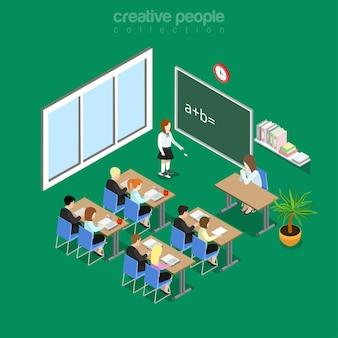 Interiore dell'aula piana isometrica nell'illustrazione della scuola, dell'università o dell'università. concetto di isometria di educazione e conoscenza. studente alla lavagna, insegnante sul posto di lavoro, alunni in classe.