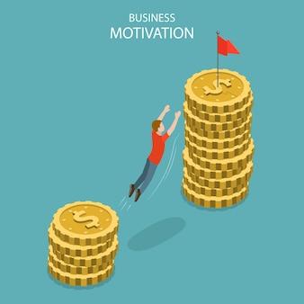 Concetto piatto isometrico di motivazione aziendale, successo, ambizione e leadership, aumento di stipendio, aumento di stipendio.