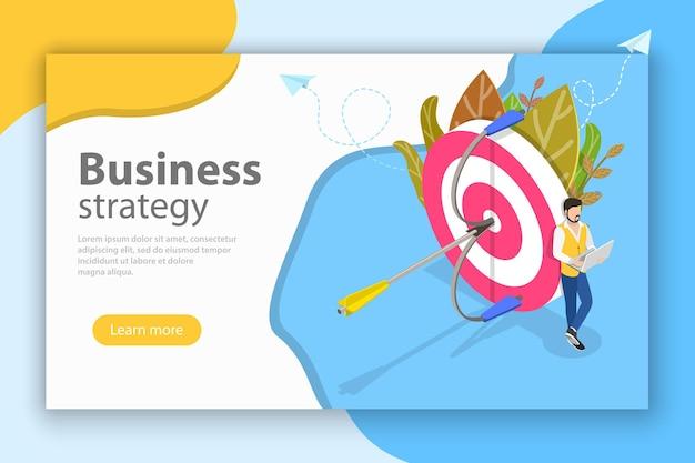 Concetto piatto isometrico di strategia aziendale, pianificazione della crescita, obiettivo finanziario.