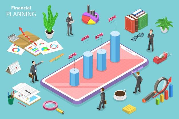 Concetto piatto isometrico di pianificazione finanziaria, strategia di sviluppo