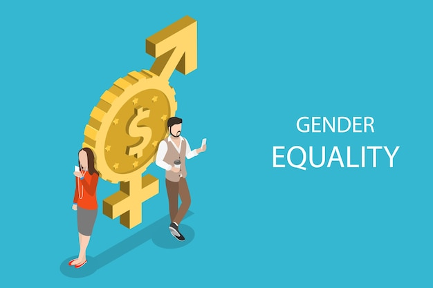 Concetto piatto isometrico di uguaglianza di genere, pari diritti e opportunità maschili e femminili.