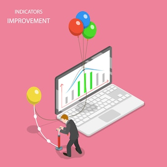 Concetto piatto isometrico di miglioramento degli indicatori, aumento dell'efficienza, crescita finanziaria.