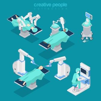 Attrezzature moderne dell'ospedale piatto isometrico, illustrazione di chirurgia cerebrale assistita da robot