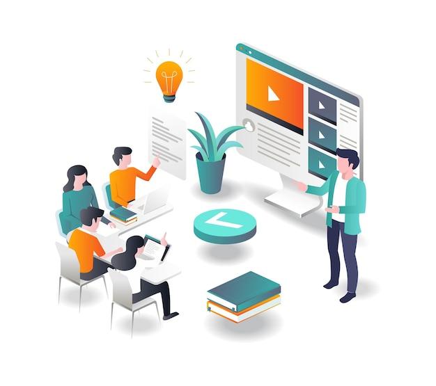 Corsi di concetto di illustrazione piatta isometrica e apprendimento online