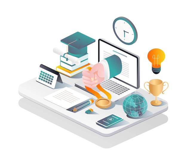 Banchi di studio online di concetto di illustrazione piatta isometrica e ottenere certificati