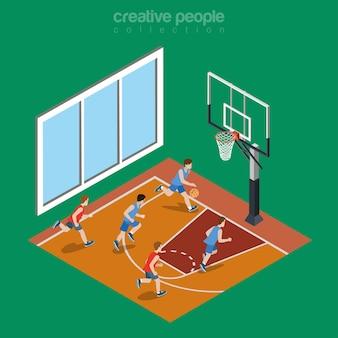 Illustrazione isometrica del campo da giuoco del campo da pallacanestro dell'interno piatto concetto di isometria sportiva di college e università.