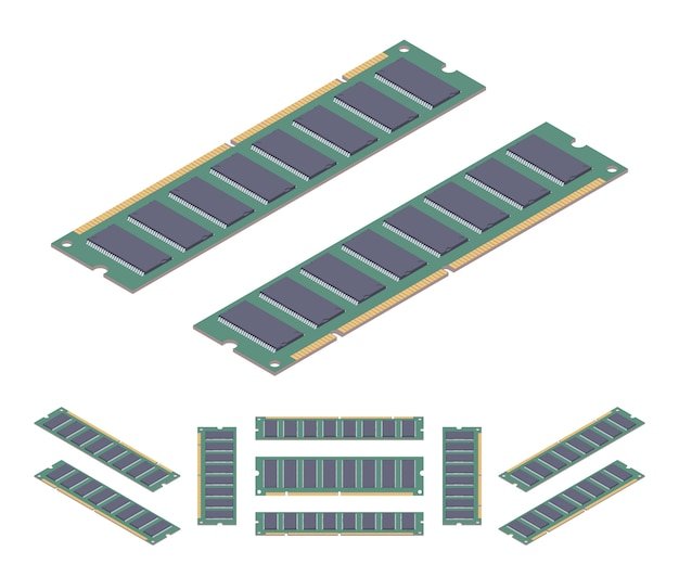 Scheda di memoria ram isometrica piatta