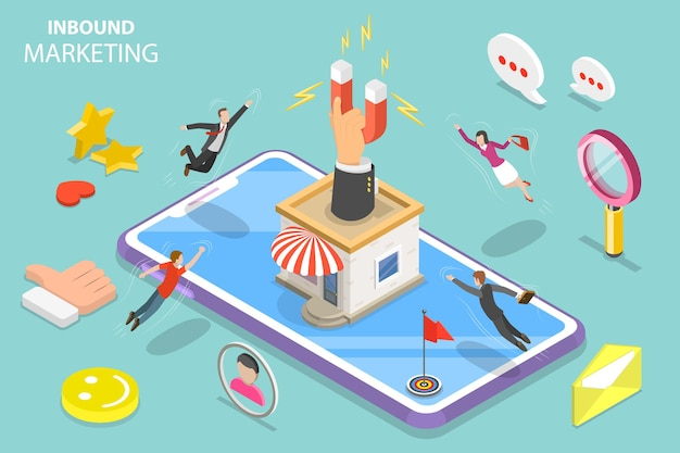 Concetto di vettore piatto isometrico della strategia di marketing in entrata digitale