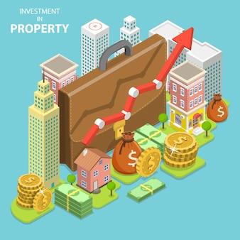Concetto di vettore piatto isometrico di investimento in proprietà
