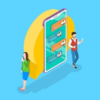 Concetto di vettore piatto isometrico per messenger online, chat mobile, servizio di sms istantaneo.