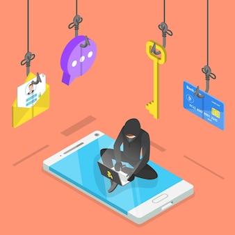Concetto di vettore piatto isometrico di hacking di virus informatici di phishing