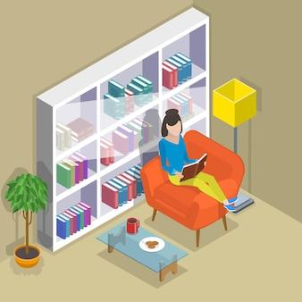 Concetto di vettore piatto isometrico di lettura, libro preferito, educazione.