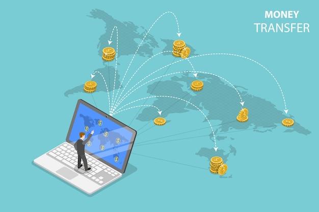 Concetto di vettore piatto isometrico di inviare denaro in tutto il mondo