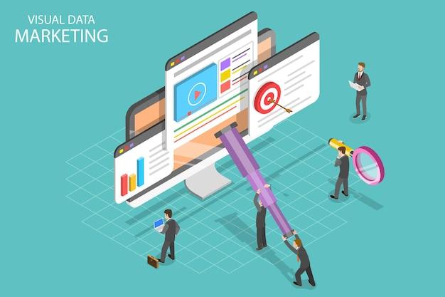 Concetto di vettore piatto isometrico di marketing di dati visivi, campagna basata sui dati, analisi delle statistiche.