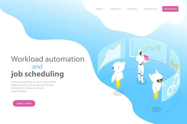 Modello di pagina di destinazione vettoriale piatto isometrico per l'automazione del carico di lavoro