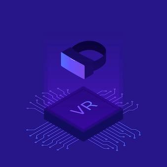Casco vr piatto isometrico realtà virtuale. piattaforma la realtà visiva con microscheme. illustrazione di occhiali