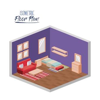 Piano piano isometrico della camera da letto