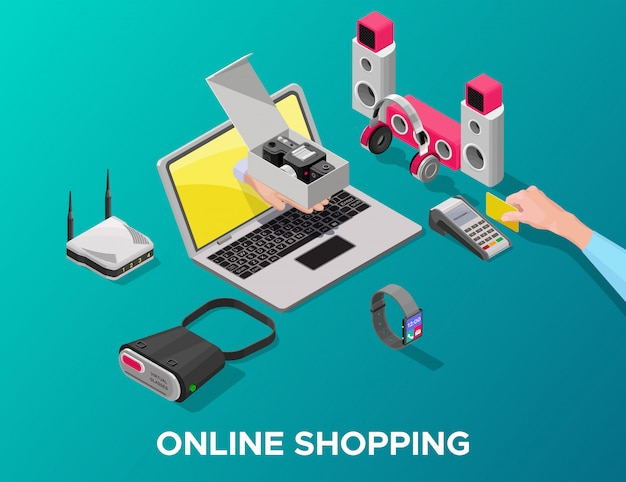 Gadget isometrici shopping online concept
