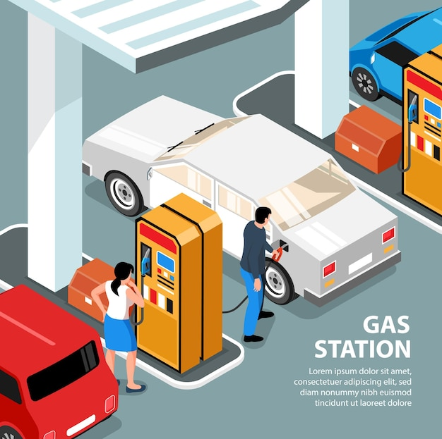 Carta della stazione di servizio isometrica