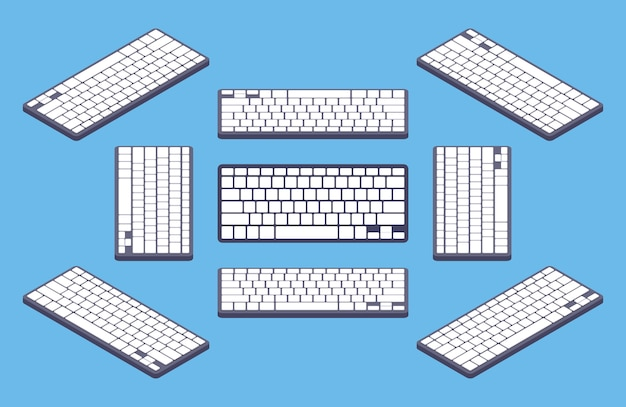 Tastiera di computer nera generica isometrica con i tasti in bianco bianchi