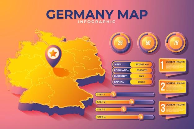 Mappa isometrica della germania infografica