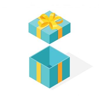 Confezione regalo isometrica con fiocco, nastro su sfondo bianco. pacchetto aperto con coriandoli lucidi. cartone animato