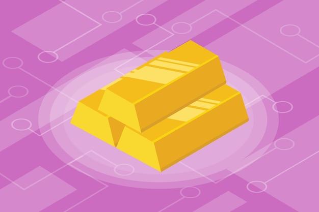 Finanza di investimento isolata isometrica della barra di oro