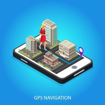Modello concettuale di navigazione gps isometrica