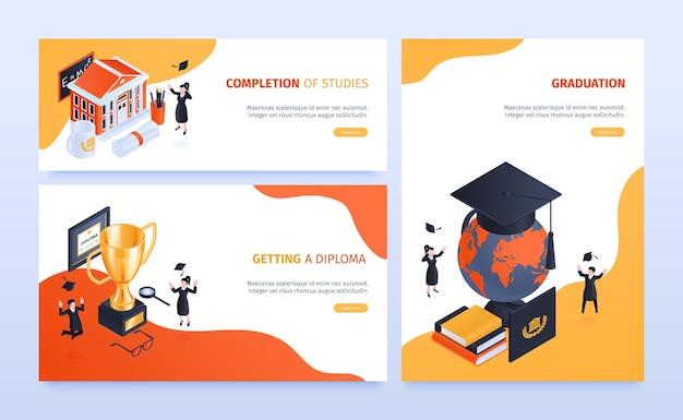 Banner web diploma di laurea isometrica con pulsanti di testo cliccabili e persone con libri e trofei