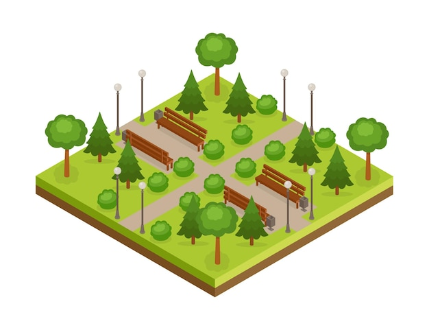 Parco cittadino verde isometrico con alberi, vicoli e panchine, illustrazione vettoriale