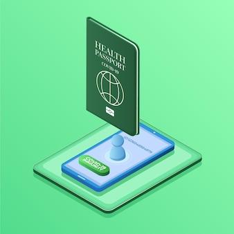 Passaporto sanitario isometrico per persone immunitarie covide