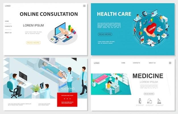 Siti web di assistenza sanitaria isometrica impostati con procedura di scansione mri medici pazienti online consultazione medica ed elementi di medicina digitale