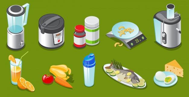 Elementi di stile di vita sano isometrico impostati con frullatore fornello lento vitamine scale spremiagrumi agitatore succo di verdure pesce uova formaggio isolato