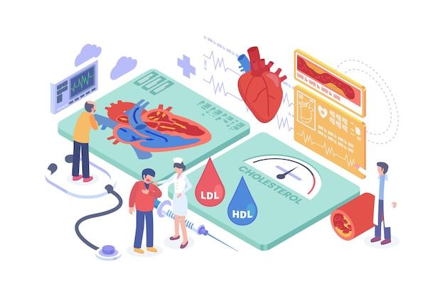 Concetto isometrico di pressione sanguigna alta in colesterolo