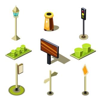 Insieme isometrico dell'icona degli oggetti urbani della via della città di alta qualità