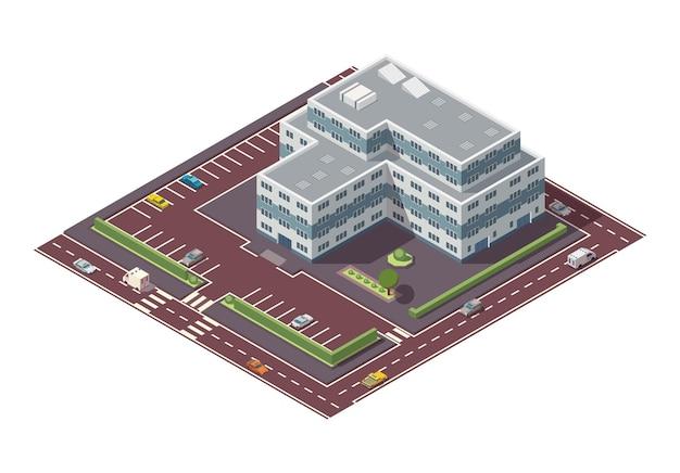 Grattacielo isometrico ed elementi stradali con posto per il parcheggio. elemento di costruzione della mappa della città o della città. icona che rappresenta un edificio a più piani. case, abitazioni o uffici.