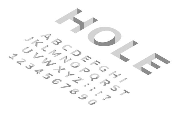 Foro isometrico carattere alfabeto 3d moderno carattere geometrico cubico fori profondi nelle lettere del pavimento