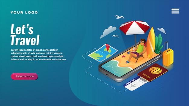 Pianificazione isometrica delle vacanze tramite il concetto di smartphone per il sito web e la pagina di destinazione delle app mobili