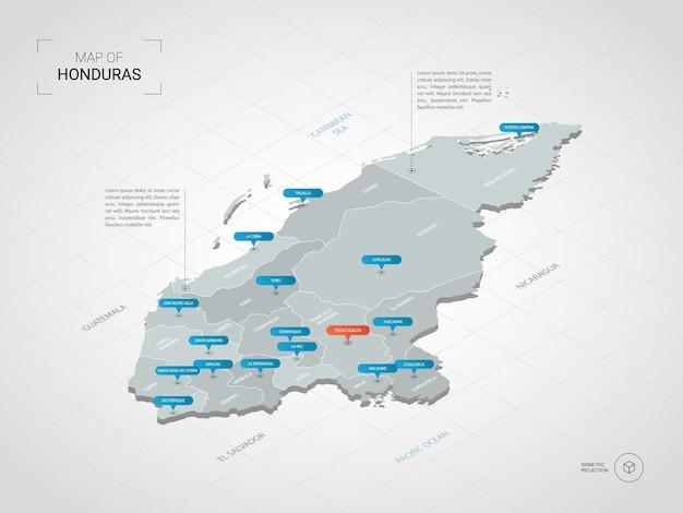 Mappa isometrica dell'honduras. illustrazione stilizzata della mappa con città, confini, capitale, divisioni amministrative e indicatori di direzione; sfondo sfumato con griglia.