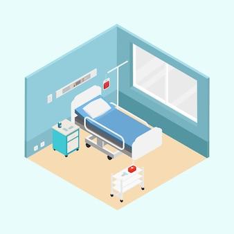 Concetto di stanza d'ospedale isometrica
