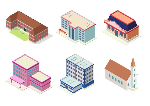 Set di edifici isometrici hotel, scuola, chiesa, appartamento o centro commerciale