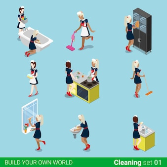 Set di lavori di pulizia domestica cameriera isometrica. isometria piatta