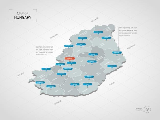 Mappa isometrica dell'ungheria. illustrazione stilizzata della mappa con città, confini, capitale, divisioni amministrative e indicatori di direzione; sfondo sfumato con griglia.