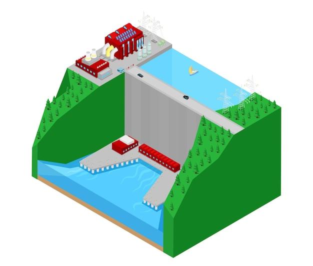 Centrale idroelettrica isometrica fabbrica centrale elettrica. illustrazione Vettore Premium