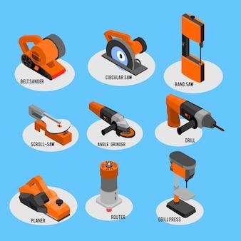 Collezione di icone isometriche di utensili elettrici imposta gli strumenti principali per legno metallo acrilico