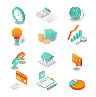 L'icona isometrica imposta l'analisi aziendale e bancaria