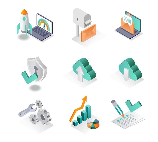L'icona isometrica imposta lo sviluppatore aziendale e l'analista di posta elettronica seo