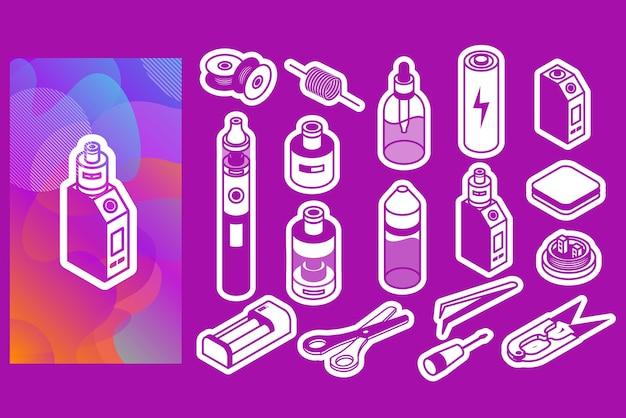 Icona isometrica collezione di fumo di vapore liquido vape