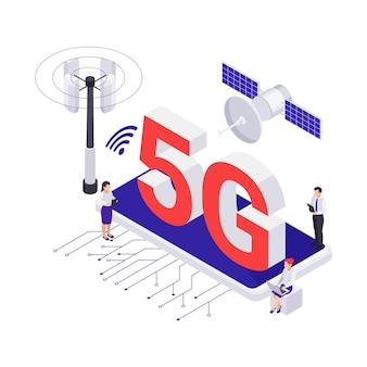 Icona isometrica con l'illustrazione di vettore dello smartphone 3d dell'antenna satellitare di internet 5g